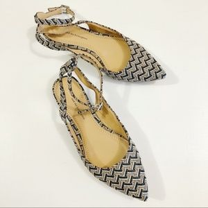 Anthro •Pilcro Pointed-Toe Woven Ankle Strap Flats